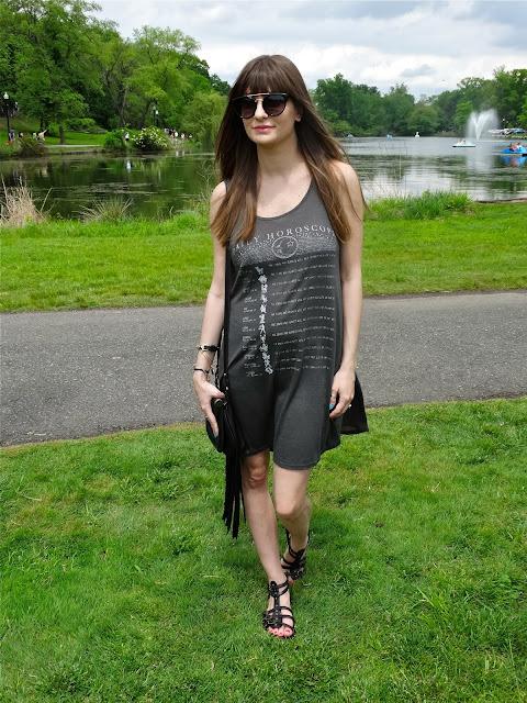 Tank dress, fringed handbag, gladiator sandals - Coachelle style | www.houseofjeffers.com