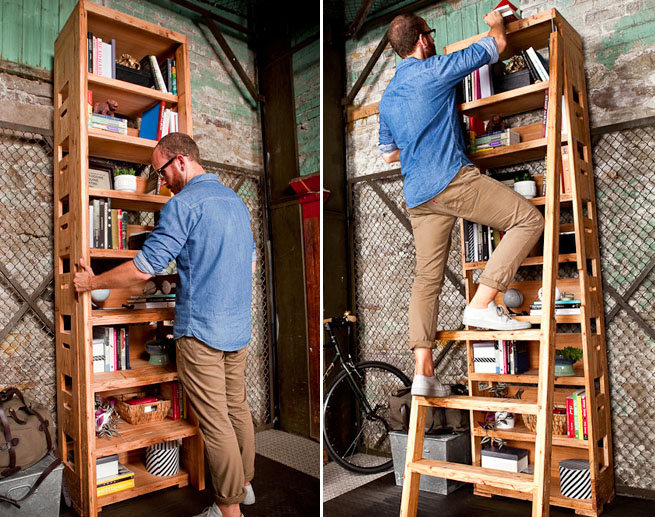 Tall Bookshelf Packs Its Own Ladder