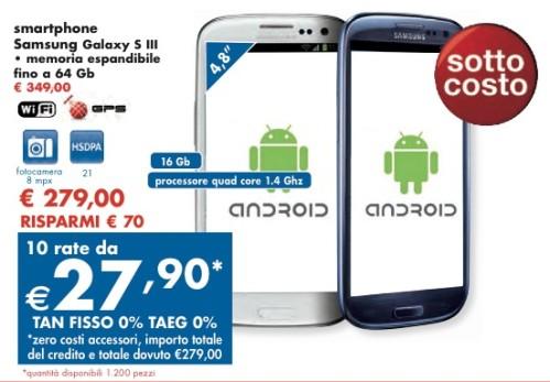 Doppia promozione Panorama su Galaxy S3 con tasso zero e prezzo sottocosto