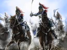 Drawing of knights, cavalry riding on