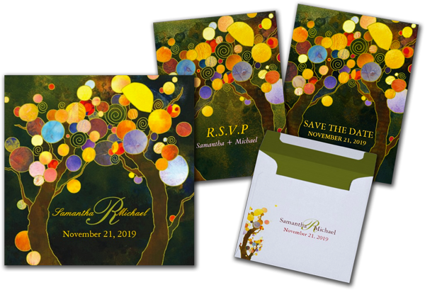 Autumn Bliss Tree Theme Monogram Wedding Invites