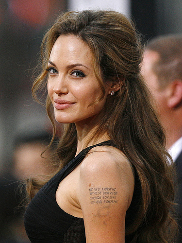 angelina jolie tattoos on back. tattoo. Angelina Jolie