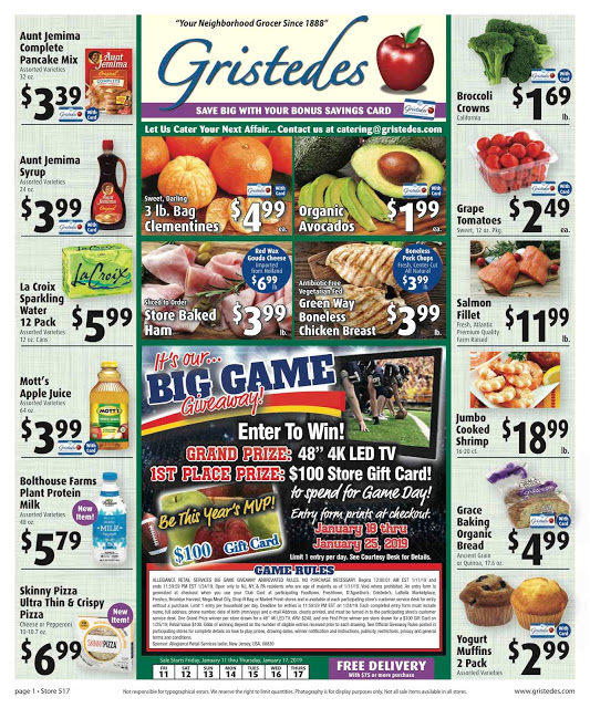CHECK OUT ROOSEVELT ISLAND GRISTEDES Products, Sales & Specials For January 11- January 17