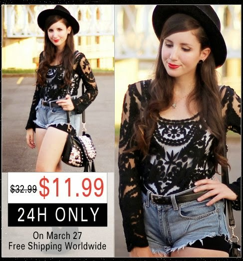 Romwe black lace blouse sale offer on March 27th