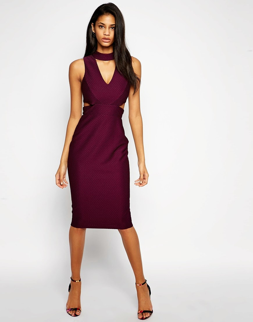 burgundy deep neck dress