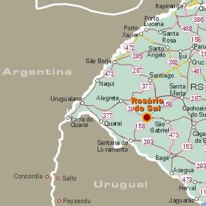 Cidade de Rosário do Sul identificada no mapa do Rio Grande do Sul.