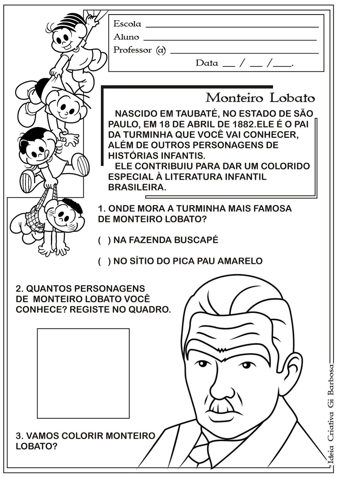 Atividades Sítio do Pica Pau Amarelo Monteiro Lobato
