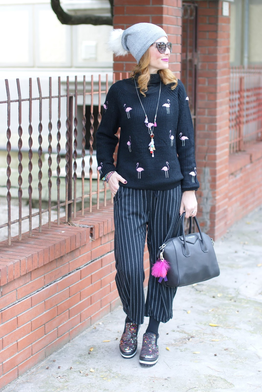 How to wear culottes, Flamingo sweater, pinstripe culottes and slip on sequin sneakers, casual feminine outfit on Fashion and Cookies fashion blog, fashion blogger style