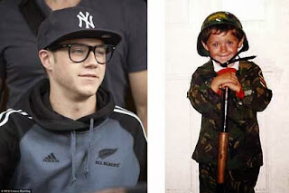 Niall Horan in Auckland, New Zealand last weekend (left) and a portrait of the artist as a very young man. Source: Google Images