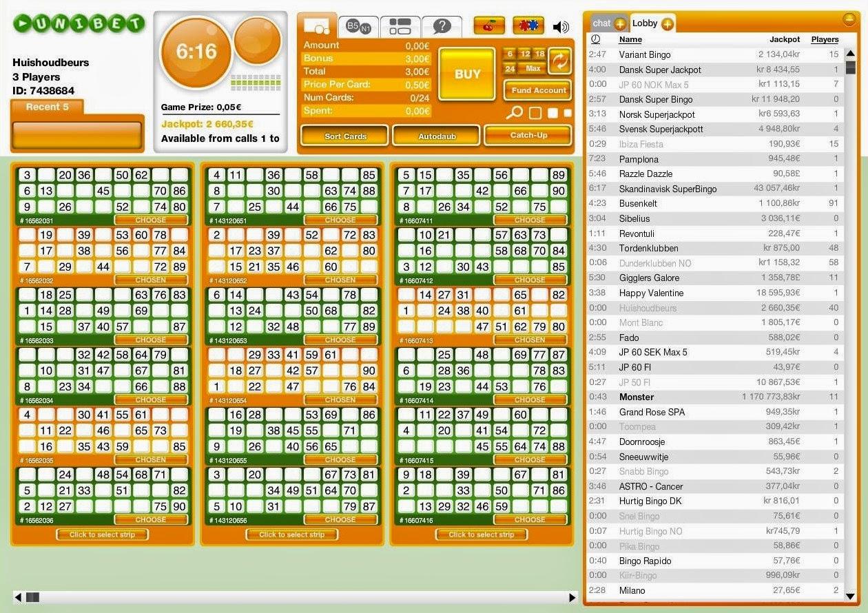 Unibet Bingo Ticket Screen