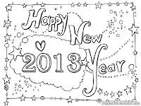Gambar Tahun Baru Untuk Diwarnai
