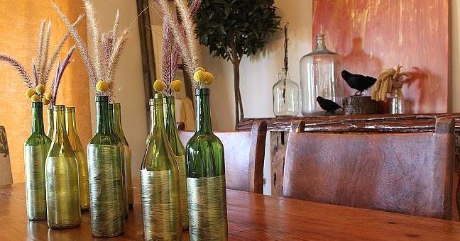 Brown bunny flowers fall wine bottle decoration for Wine bottles decorated with flowers