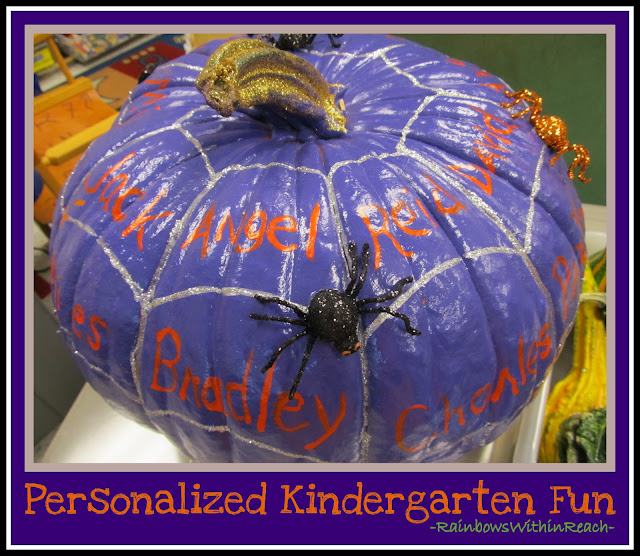 photo of: Kindergarten Pumpkin Personalized with Names (Fall RoundUP via RainbowsWithinReach) 