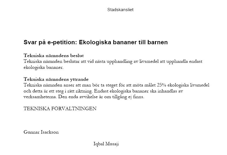 Endast ekologiska bananer i Borås efter E-petition