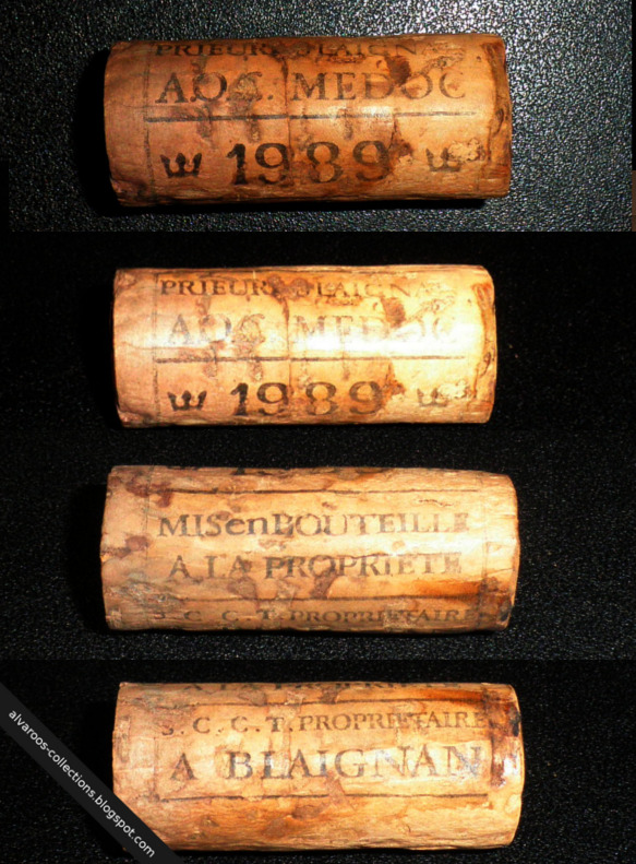 Destroyed wine cork: wine from Blaignan 1989