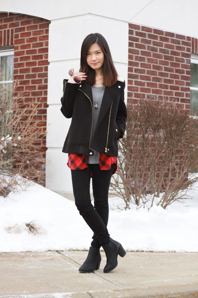 hm black coat, black coat outfit, hm boots, black and red outfit, fashion blogger coat, shopping list, oversized coat, sheep fur collar, gold zipper, red plaid shirt, ankle black boots