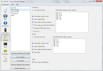 QtADB=>Settings=>File Manager - Manage various Settings related to file manager utility.