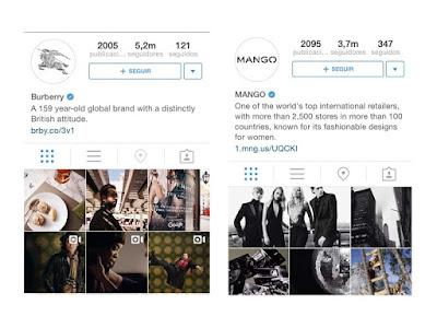 Burberry y Mango en Instagram