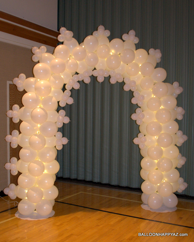 Balloon happy az wedding in pink and white for Arch balloons decoration