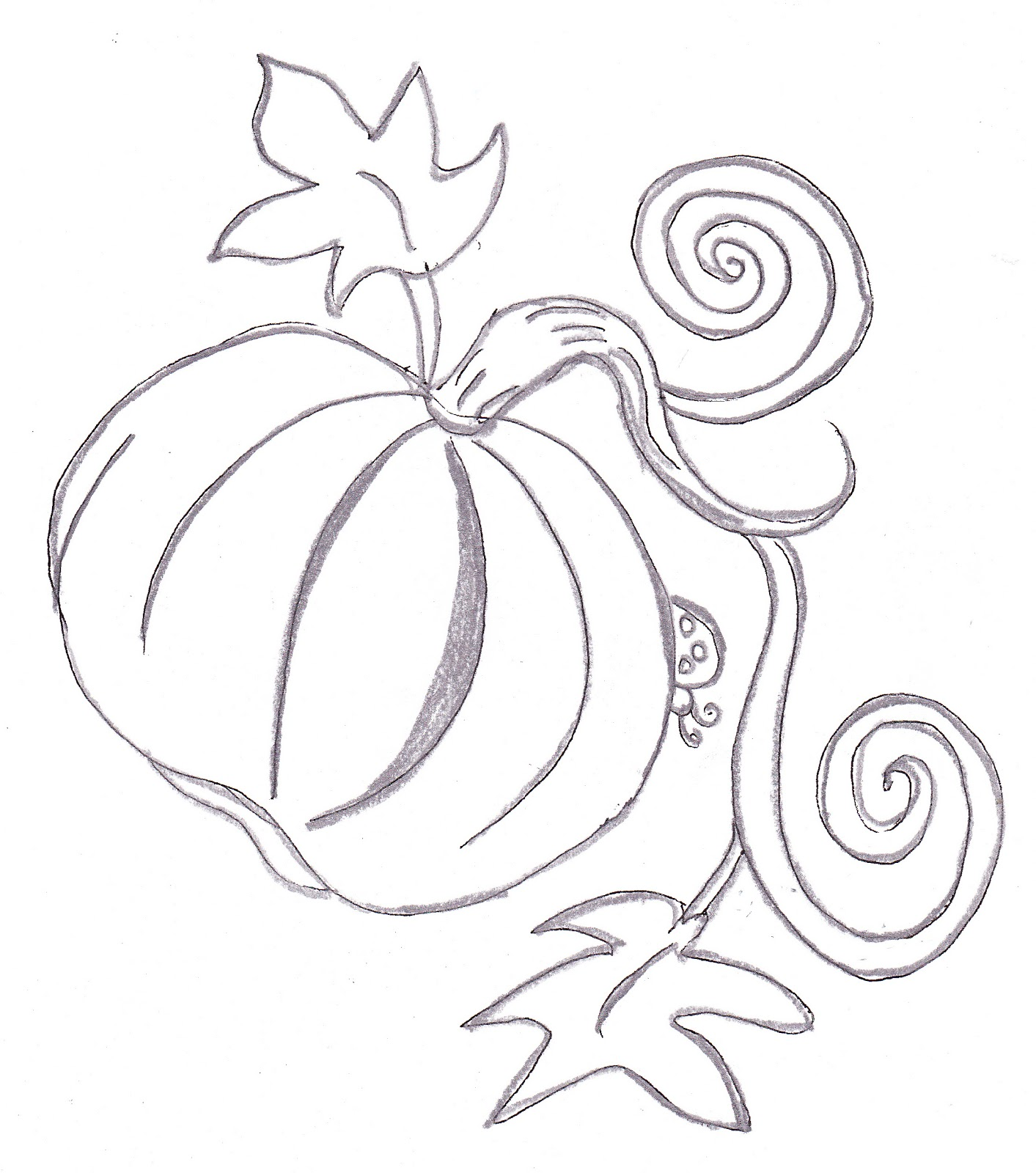 pumpkin drawing. chubby pumpkin with long vine and two curls to the right. large leaves a bug peeking out from behind on drawing w