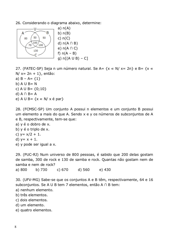 Conjuntos e intervalos resumos com exerccios atividades de exerccios de conjuntos numricos ccuart Choice Image