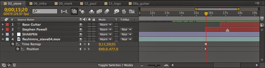 The Adobe After Effects timeline with a HOLD keyframe on the Time Remapping effect.