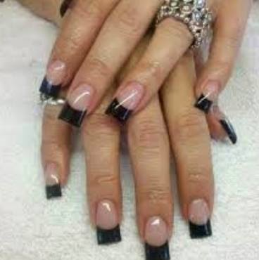 FRENCH BLACK ACRYLICS TIPS $35