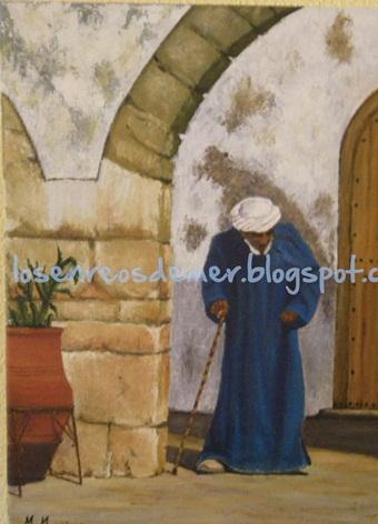 Anciano árabe. Óleo sobre lienzo.