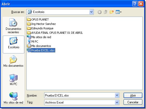 Opus Planet 002 importar obra (catalogo de conceptos) de Excel a Opus Planet
