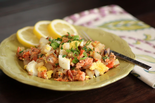 Smoked Salmon and Red Potato Hash recipe by Barefeet In The Kitchen