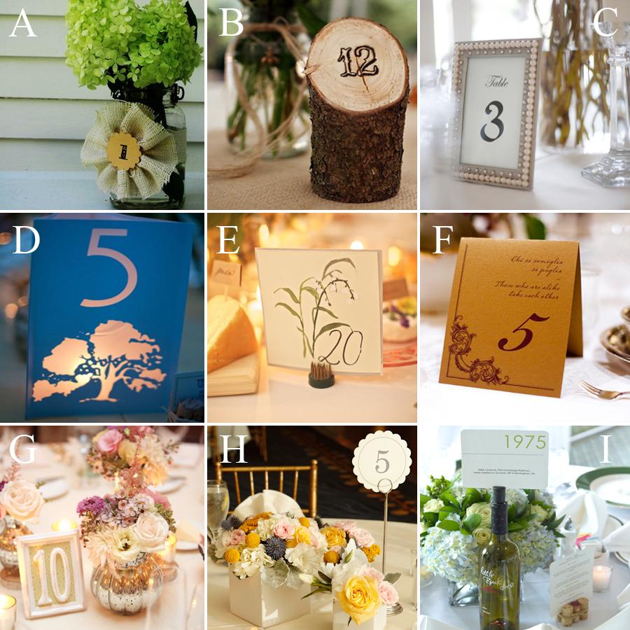Wedding Table Card Ideas: Wedding DIY: Table Number Ideas