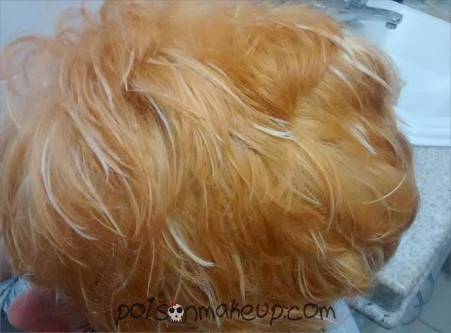 resultado no cabelo seco apos o processo de decapagem