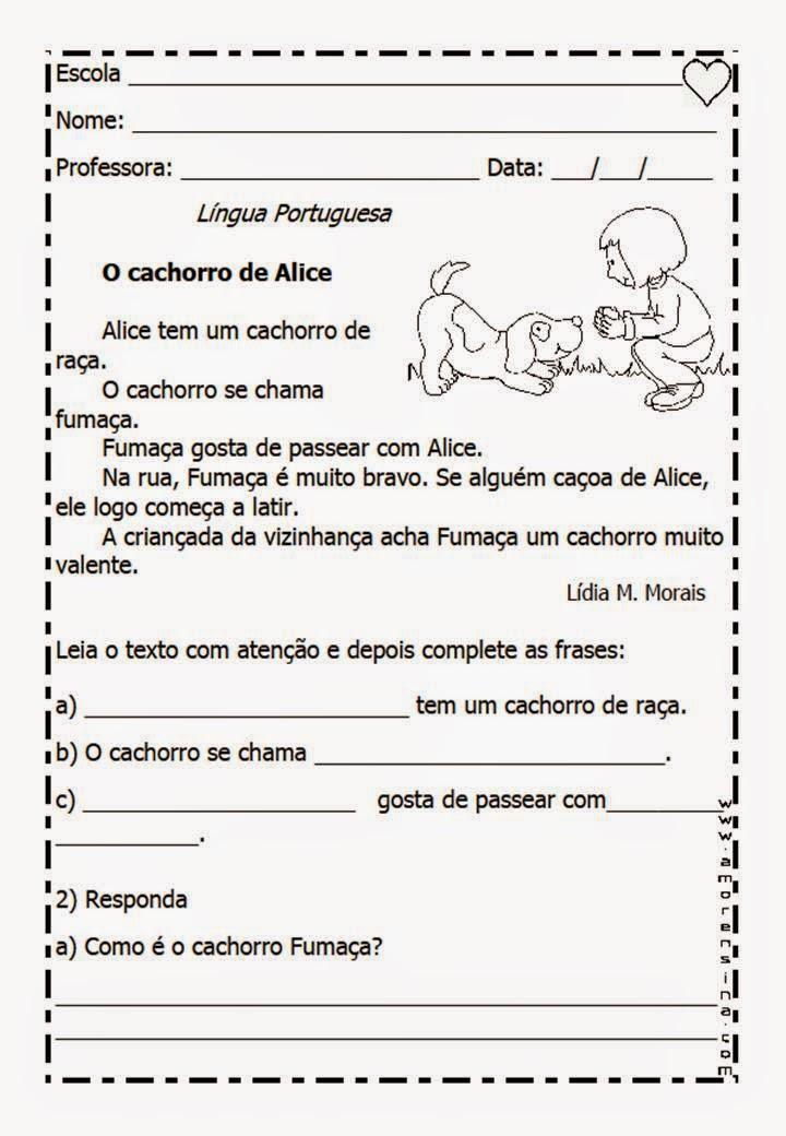 Suficiente Atividades da Tia Liu: Provas de português 1 ano ensino fundamental JX53
