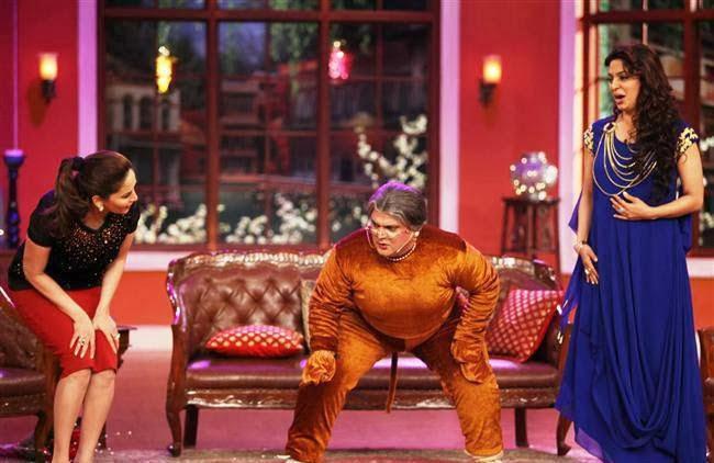 Madhuri and Juhi on Comedy Nights With Kapil to promote Gulaab Gang