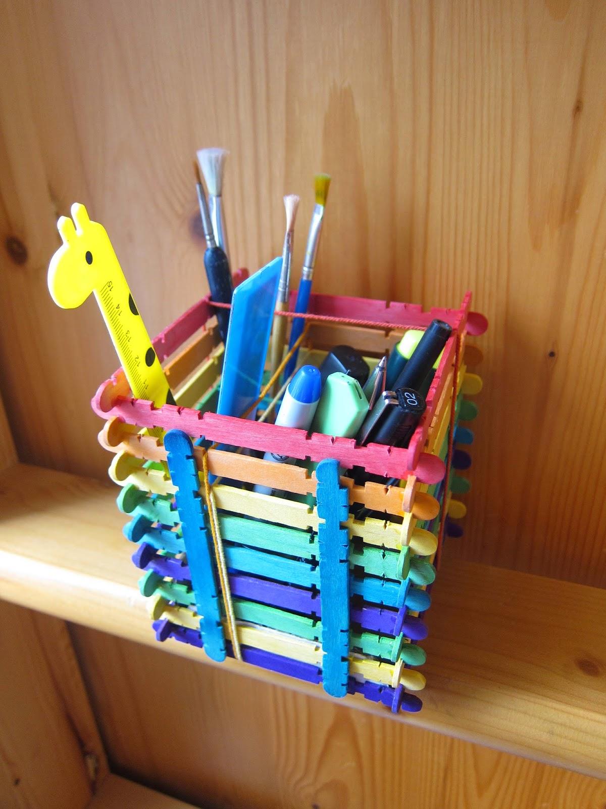 shine kids crafts rainbow popsicle sticks pen holder. Black Bedroom Furniture Sets. Home Design Ideas