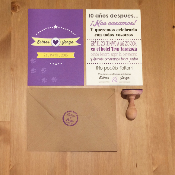 Invitaciones de boda personalizadas con sello a juego