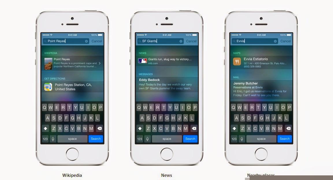 Inilah fitur baru dari iOS 8, foto dan video - Spotlight