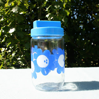 Pot Henkel à fleurs bleues - Vintage