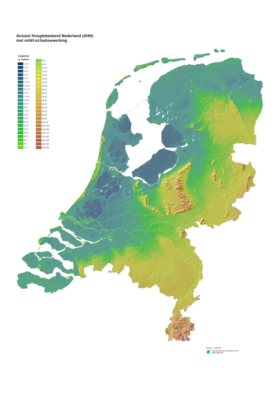 Detailed height map of The Netherlands