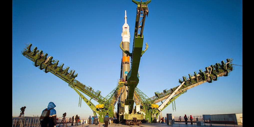 Russian Soyuz rocket on the launch pad. Credit: Roscosmos