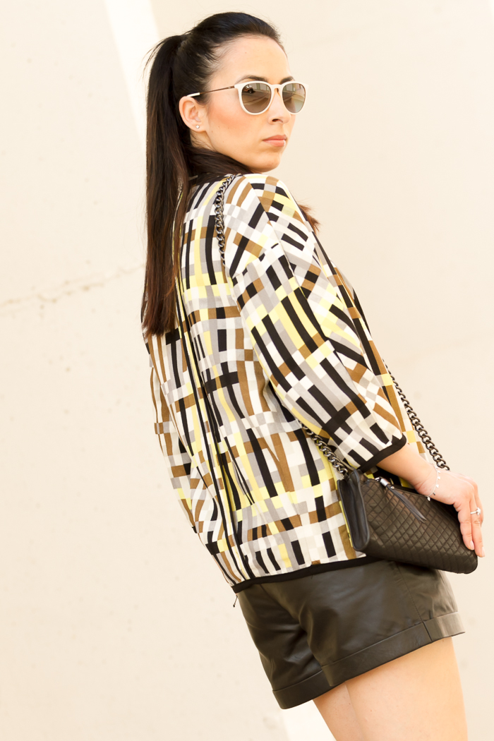 Printed Kimono Blazer and Quilted Bag by Zara