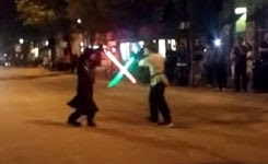 Lightsaber Duel in Middle of Street