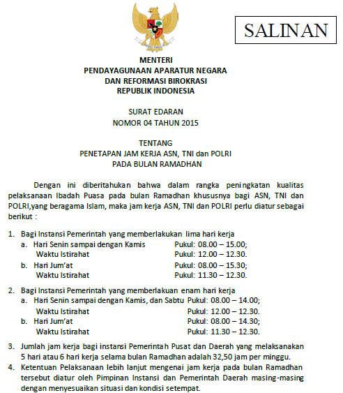 Jam Kerja Pns Asn Tni Dan Polri Bulan Ramadhan 1436 H Tahun 2015 M Dadang Jsn