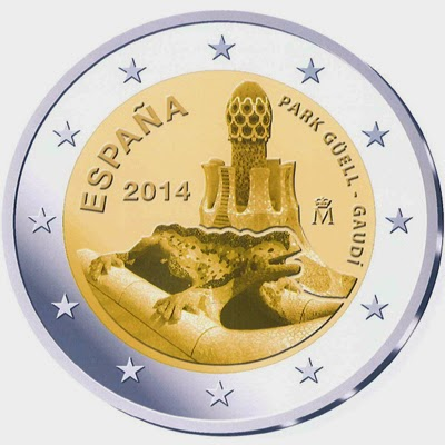 2 Euro Commemorative Coins Spain 2014, Park Güell