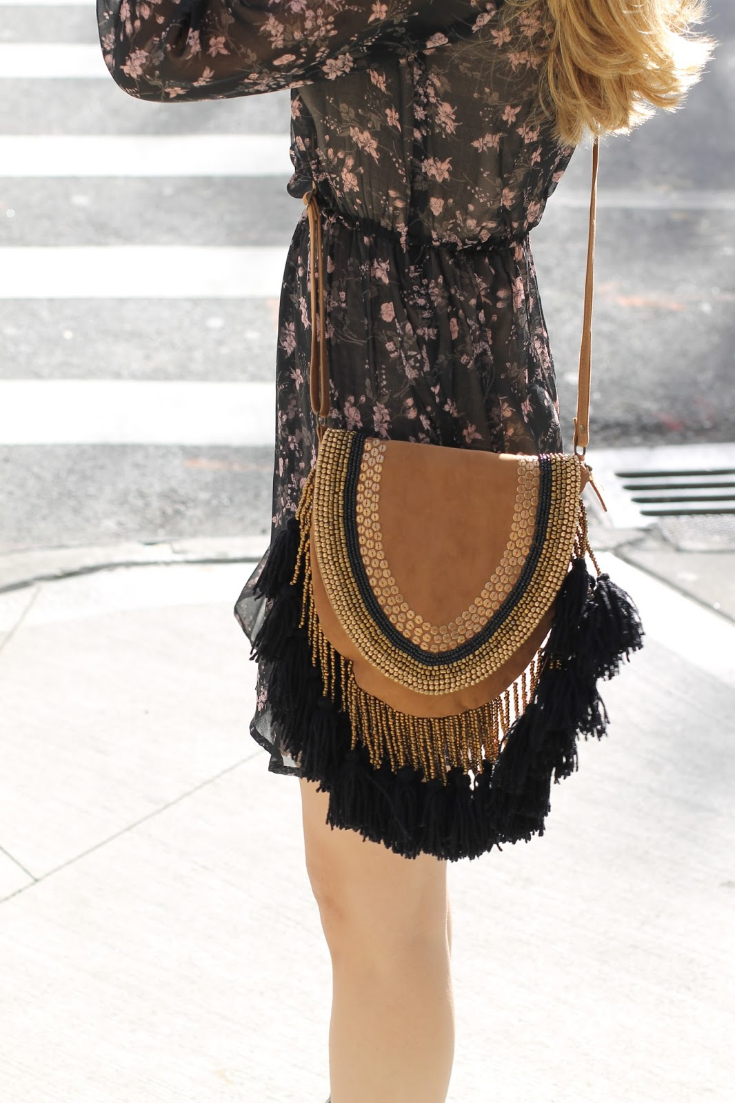 shopbop ONE by tan fringe saddle bag