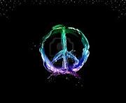 Esta Imagen Me Encanta, El Símbolo Del Amor Y La Paz Es Mi Favorito. el simbolo de la paz amor de multicolor liquido negro enmarcado con burbujas