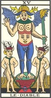 Arcano 15: O Diabo, carta do tarô, tarot, baralho de marselha