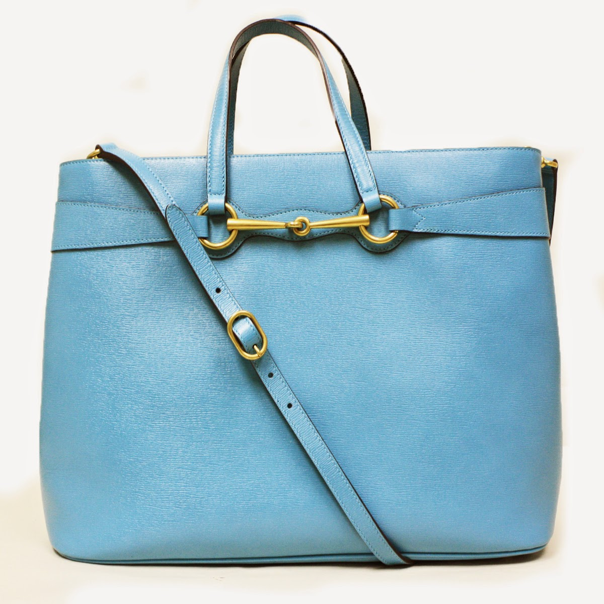 Gucci Horsebit Convertible Turquoise Blue Large Leather Tote Bag 320903