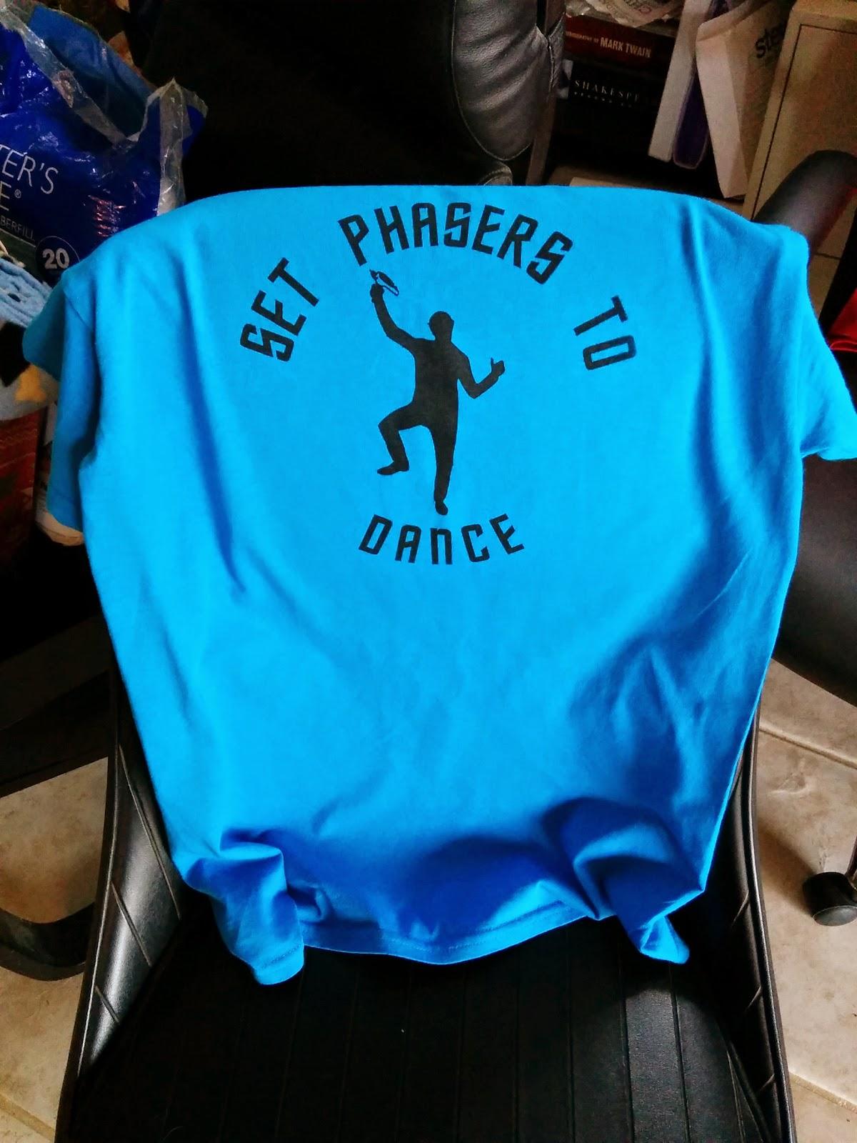 screen printed t-shirt set phasers to dance star trek