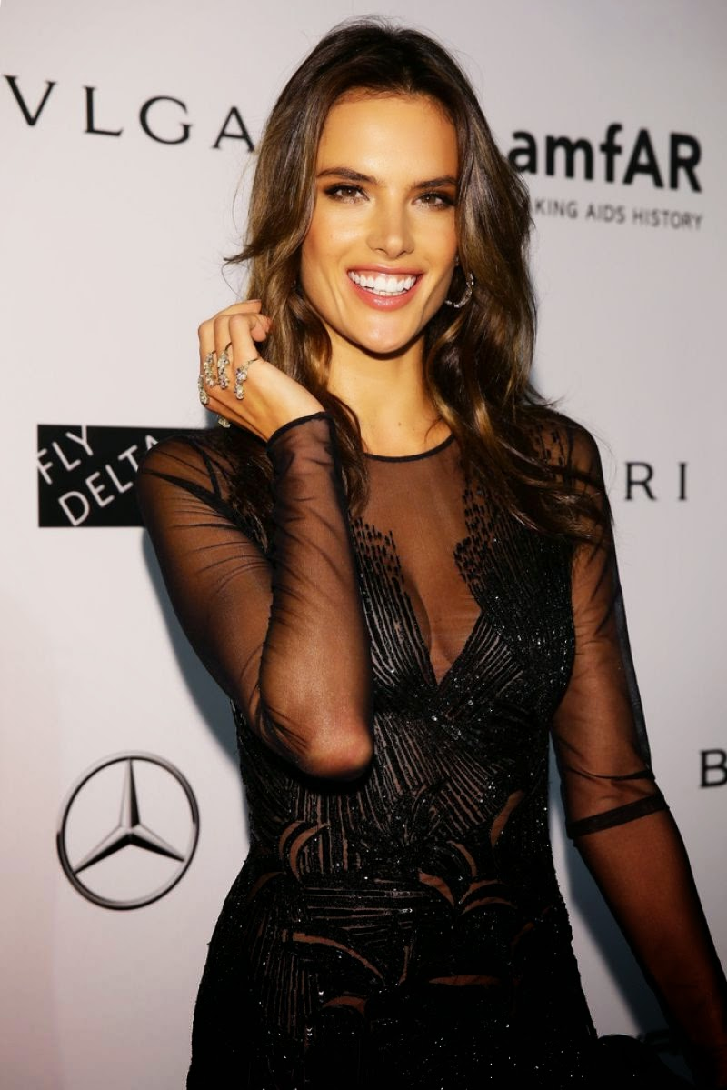 Alessandra Ambrosio rocks the thigh-slit in a sheer embellished gown at the 2014 amfAR Milano Gala